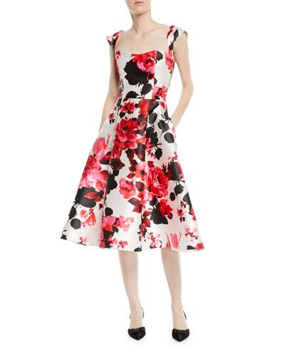 Fit-&-Flare Floral-Print Tea-Length Dress