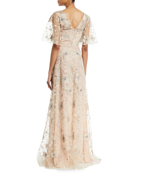 Embroidered Flutter-Sleeve Gown