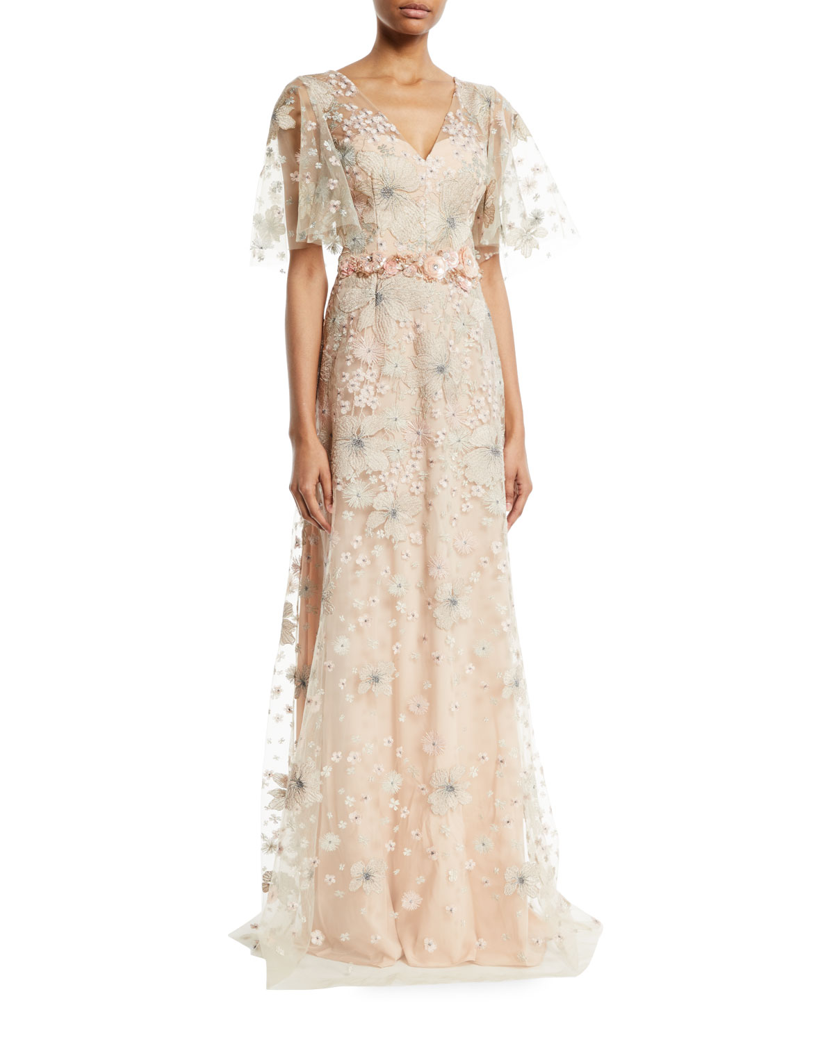 David Meister Embroidered Flutter-Sleeve Gown | Neiman Marcus