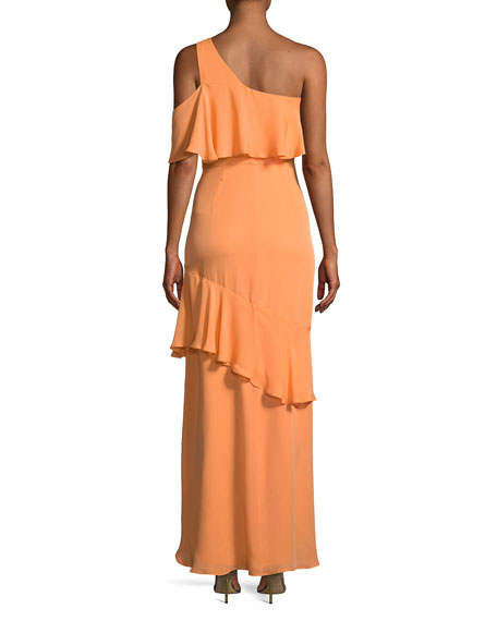 Sharon Asymmetric Ruffle One-Shoulder Gown