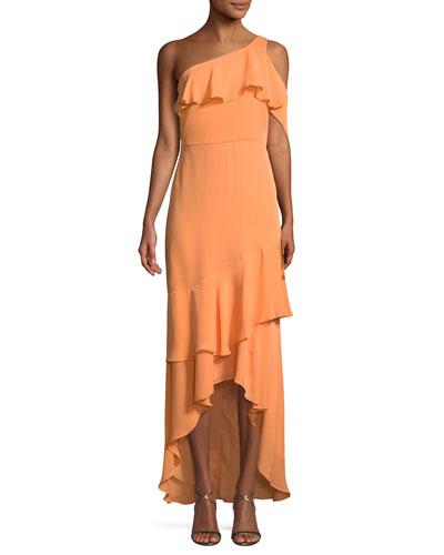 Sharon Asymmetric Ruffle One-Shoulder Gown