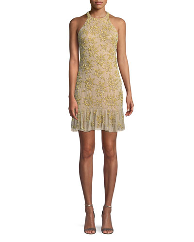 Rayna Floral Embroidered Mini Halter Cocktail Dress