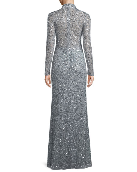 Leandra Sequin High-Neck Long-Sleeve Gown