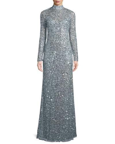 Parker Black Leandra Sequin High Neck Long Sleeve Gown