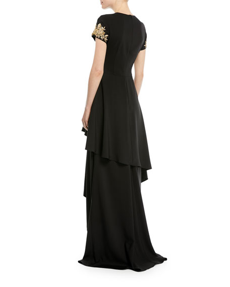 Tiered Skirted Gown w/ Beaded Sleeves
