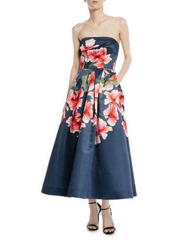 Strapless Fit-&-Flare Floral Dress w/ Pockets