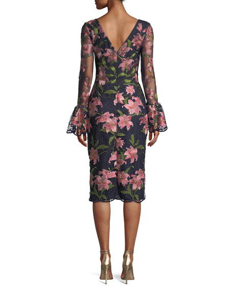Floral Bell-Sleeve Guipure Lace Dress