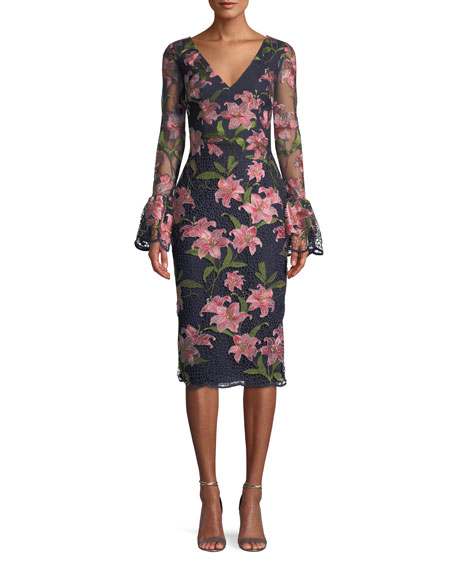 DAVID MEISTER Floral Embroidered Bell-Sleeve Sheath Dress in Navy/Pink