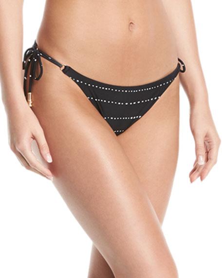 VIX Shaye Side-Tie Dot-Print Bikini Bottom in Black