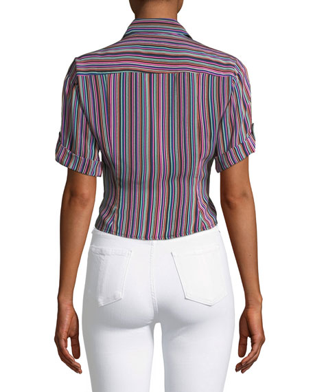 Sassy Stripe Self-Tie Silk Top