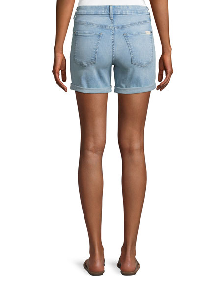 Mid-Rise Roll Denim Shorts