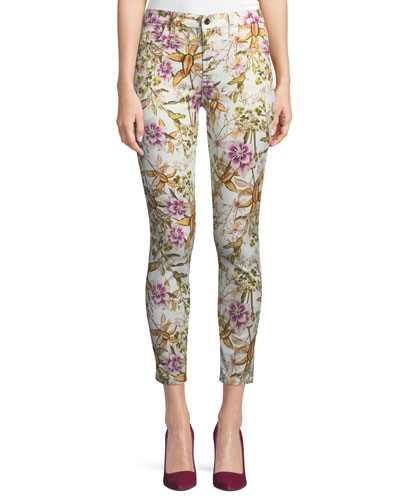 Havana Tropics Floral-Print Ankle Skinny Jeans
