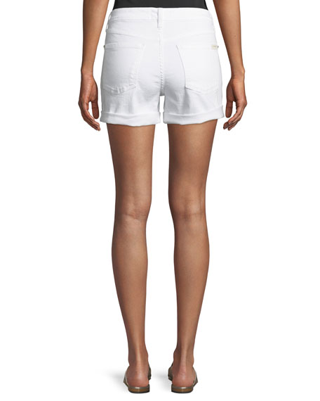 Mid-Rise Roll Denim Shorts, White