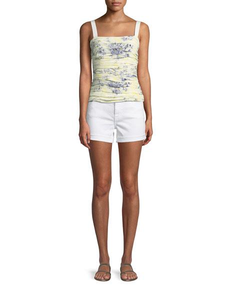 Mid-Rise Roll Denim Shorts, White