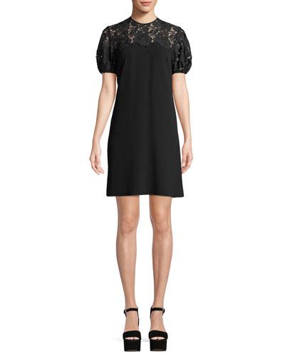 Lorena Lace-Yoke Mini Dress