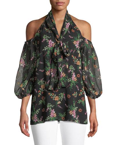 Laurel Floral Cold-Shoulder Blouse