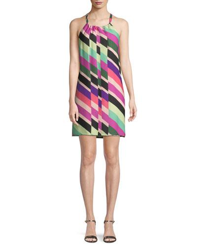 Rancho Wind Chimes Striped Silk Mini Dress