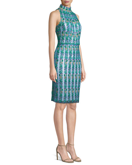 Embroidered Floral Lace Mock-Neck Dress