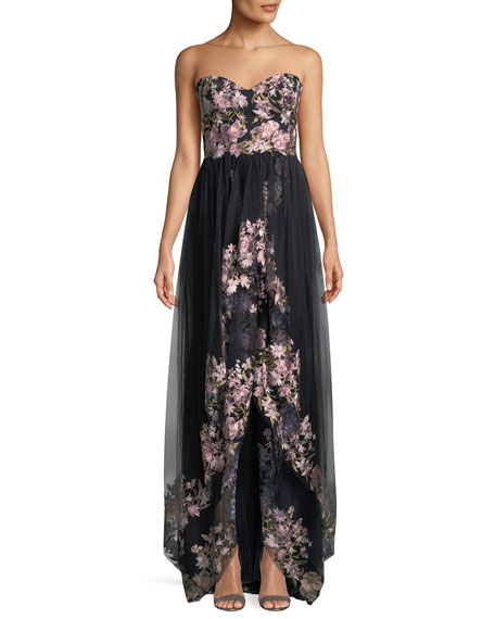 David Meister Floral Bustier Strapless High-Low Gown