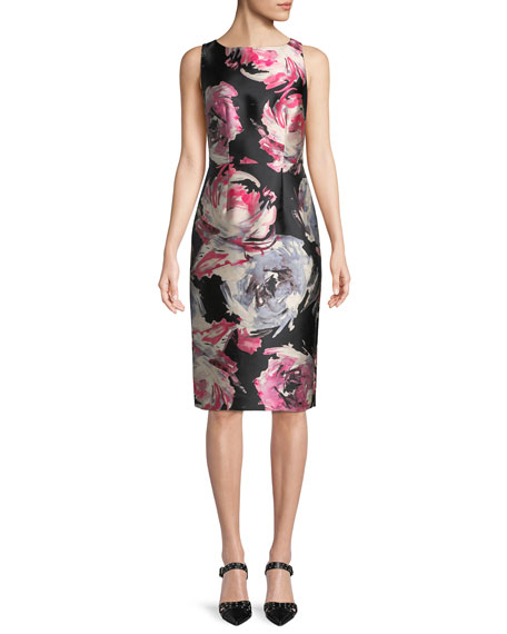 David Meister Floral Sleeveless Sheath Dress
