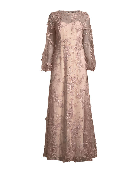 Long-Sleeve Embroidered Floral Gown