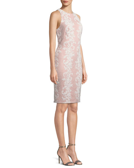 Sleeveless Lace Applique Sheath Dress