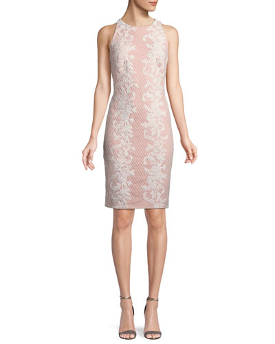 Sleeveless Lace Appliqué Sheath Dress
