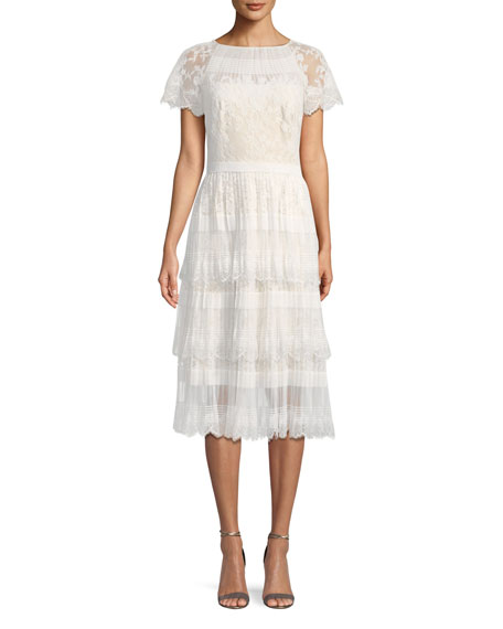 Pleated Lace Tiered Dress