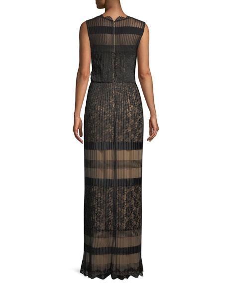 V-Neck Multi-Lace Sleeveless Long Dress