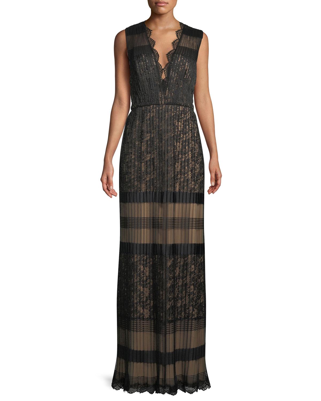 V Neck Multi Lace Sleeveless Long Dress