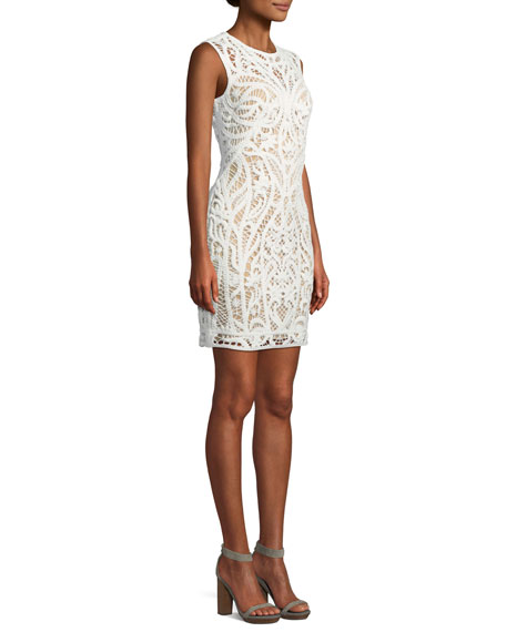 Lace Appliqué Sheath Mini Dress