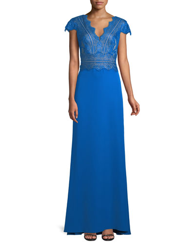 Nolan Scalloped Lace-Bodice Gown