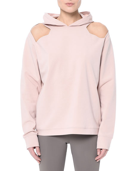 NYLORA Coppell Hooded Cutout Pullover Sweatshirt in Blush