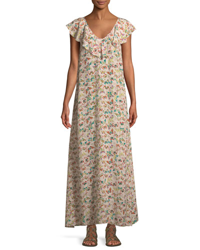 Reen Butterfly-Print Ruffle Maxi Dress