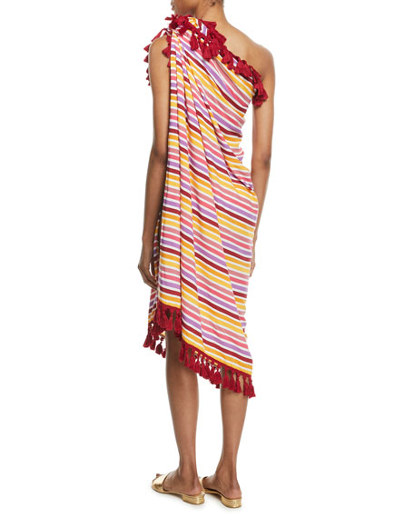 Delilah Striped Coverup Pareo w/ Tassels