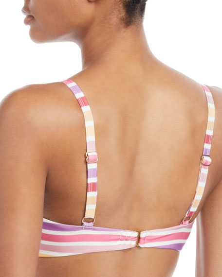 Claudia Striped Knot-Front Bikini Top