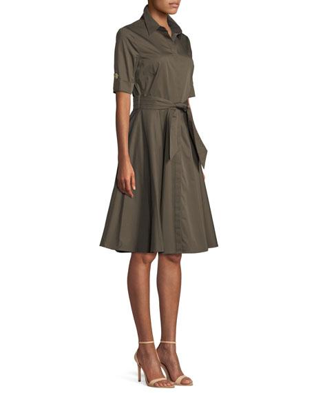Safari Belted Fit-&-Flare Shirtdress