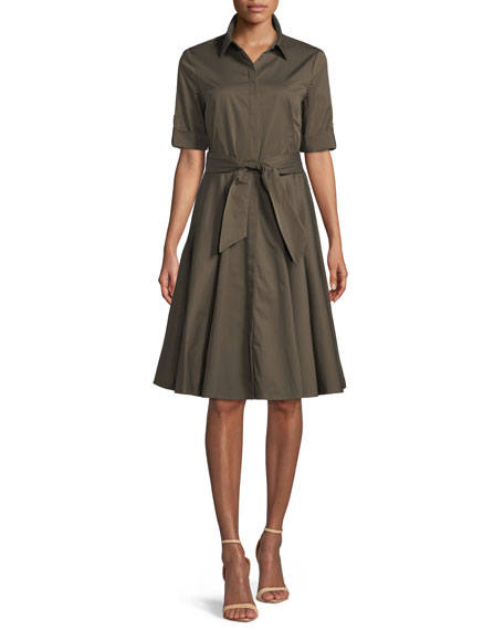 Safari Belted Fit-&-Flare Shirtdress