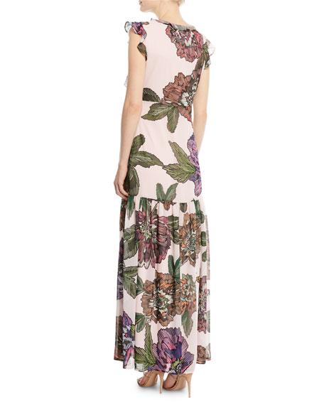 Floral Maxi Dress w/ Self-Tie Neck