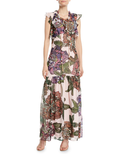 Floral Maxi Dress w/ Self-Tie Neck