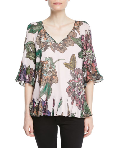 Floral-Print V-Neck Peasant Top