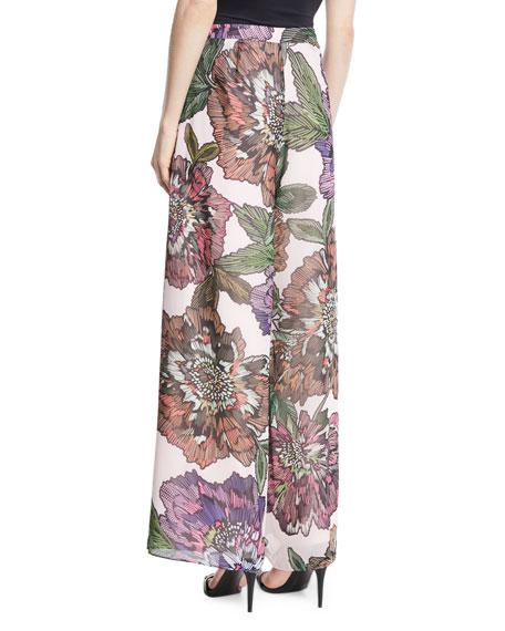 Wide-Leg Floral-Print Pants