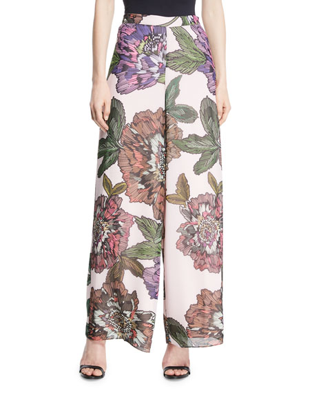 Badgley Mischka Collection Wide-Leg Floral-Print Pants