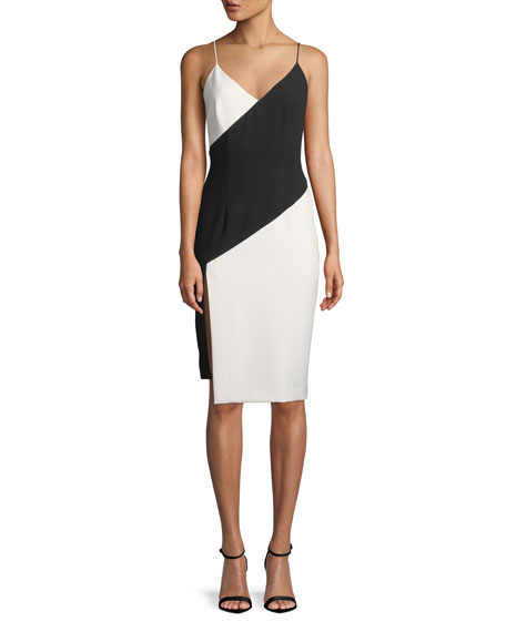 Black Halo Deetz Colorblock Sheath Dress with Slit