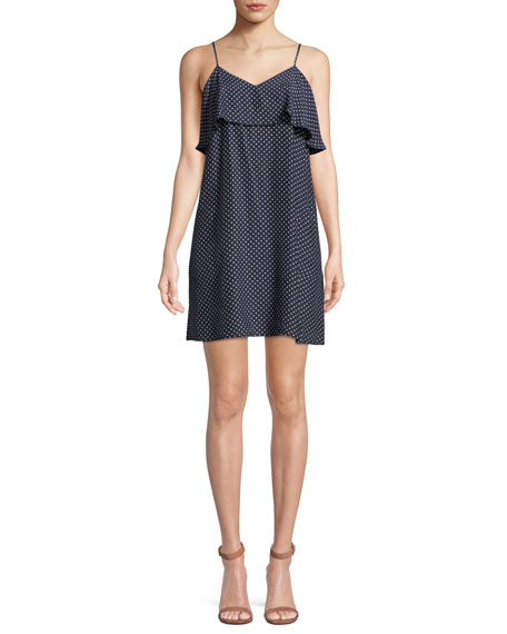 Strappy Polka-Dot Silk Flounce Mini Dress