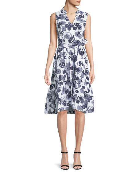 shadows poplin sleeveless floral-print midi dress