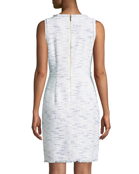 multi-tweed v-neck sheath dress