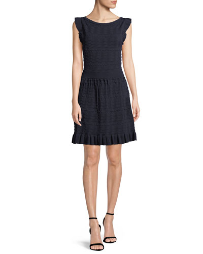 cap-sleeve textured sweater dress