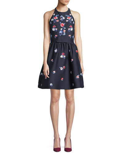 pom embroidered floral halter dress