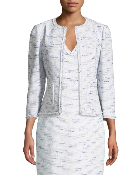 multi-tweed open-front jacket